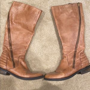 Gently used Steve Madden brown zipper boots